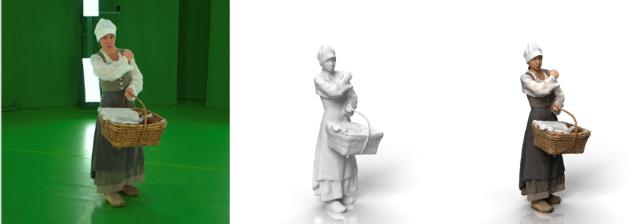 From left to right: captured actor – 3D mesh – 3D mesh with texture